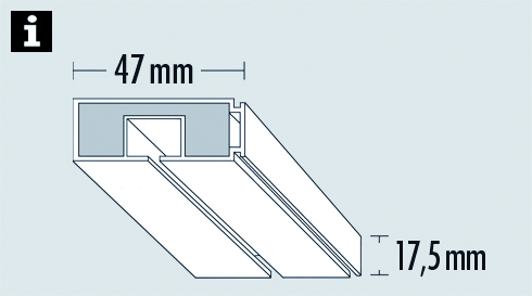 vorhangschiene ge1 wei 250 cm 8564. Black Bedroom Furniture Sets. Home Design Ideas