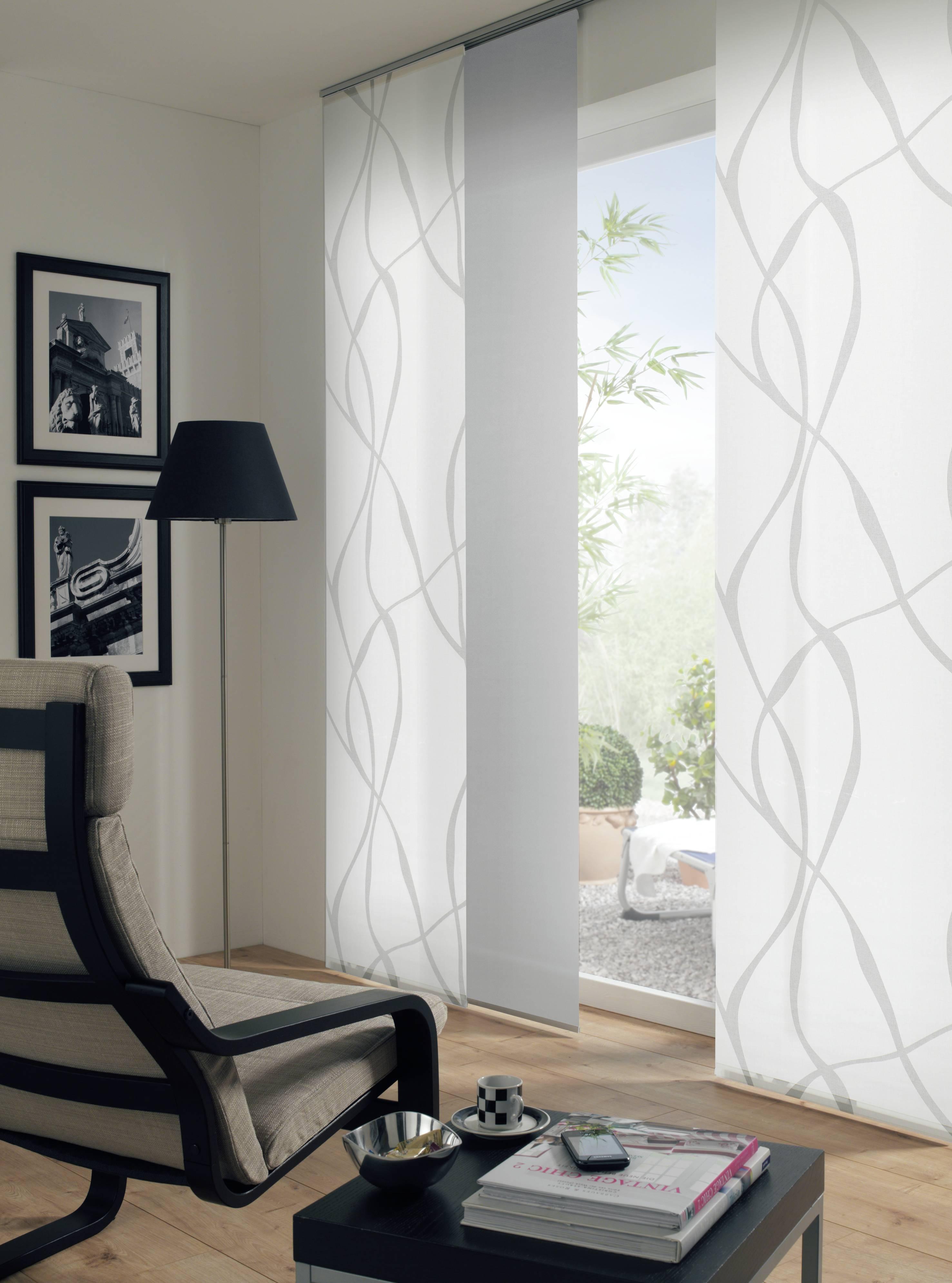 fl chenvorhang stoff curling wei grau 60 x 245 cm 1119060245. Black Bedroom Furniture Sets. Home Design Ideas
