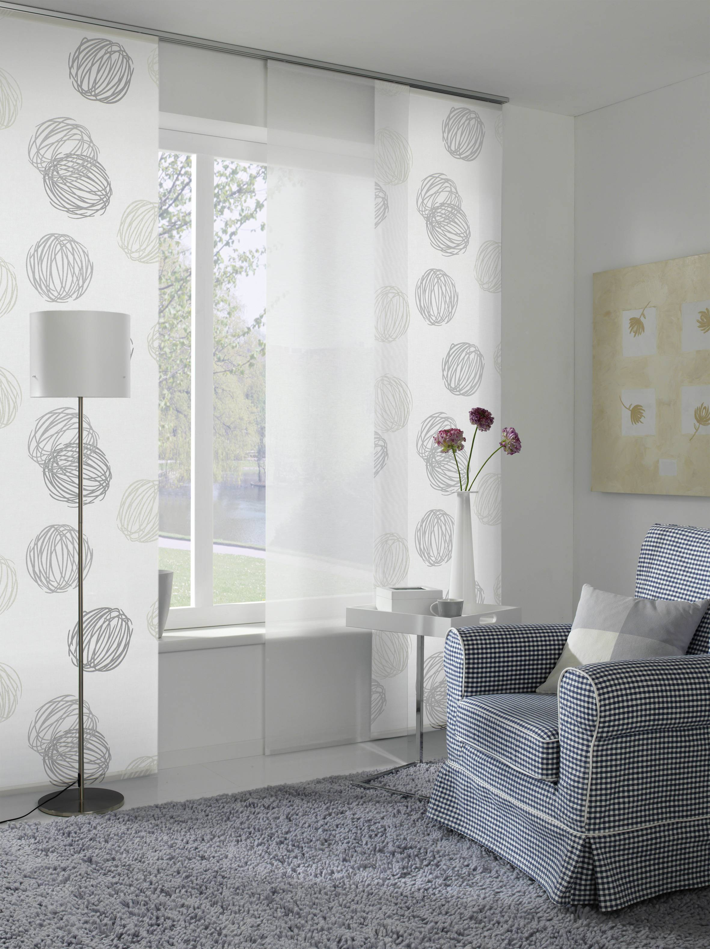 fl chenvorhang stoff kn uel wei grau 60 x 245 cm 1122060245. Black Bedroom Furniture Sets. Home Design Ideas