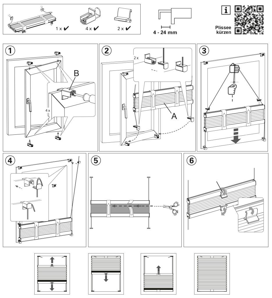 easyfix plissee cara grau 80 x 130 cm 32703. Black Bedroom Furniture Sets. Home Design Ideas